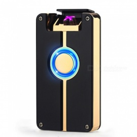 ZHAOYAO Creative Double Arc USB Charging Windproof Lighter - Black + Gold