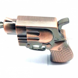 Creative Metal Windproof Cigarette Gas Lighter Pistol Toy with Keyring - Bronze