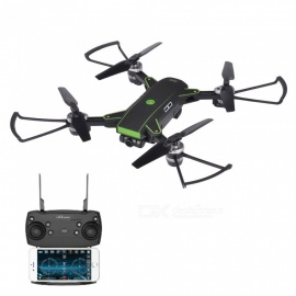 YH-19HW Wi-Fi FPV Foldable Pocket Mini RC Drone Helicopter Quadcopter with HD 720P 2.0MP Wide-Angle Camera - Black