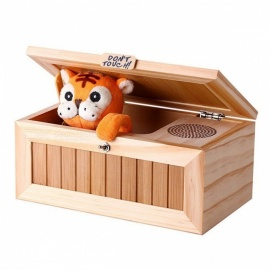 20-Mode Stress-Reduction Don't Touch Toy, Cute Tiger Wooden Useless Box w/ Voice for Kids