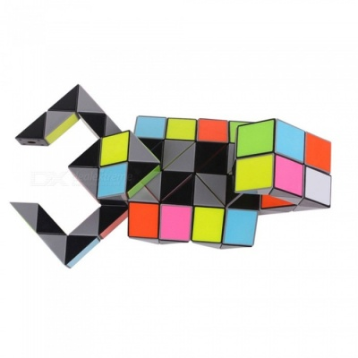 ZHISHENG 3D Colorful Magic Ruler, 72 Segments Snake Twist Cube Puzzle Kid Educational Toy for Children