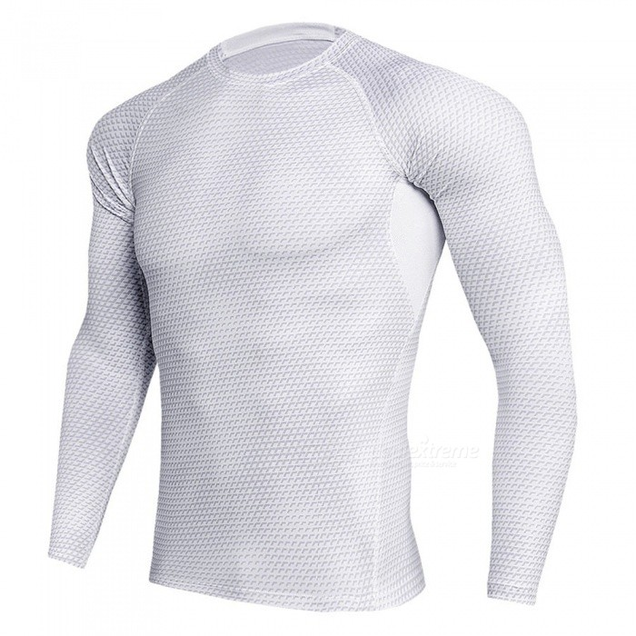 Stylish 3D Printing Quick Dry Long Sleeves T-Shirt for Men - White (XXXL)