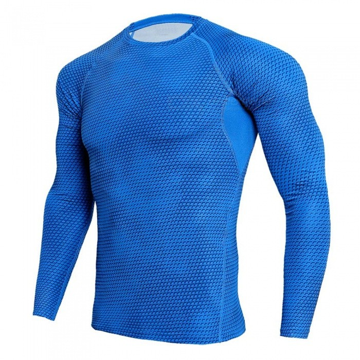 Stylish 3D Printing Quick Dry Long Sleeves T-Shirt for Men - Blue (XXL)