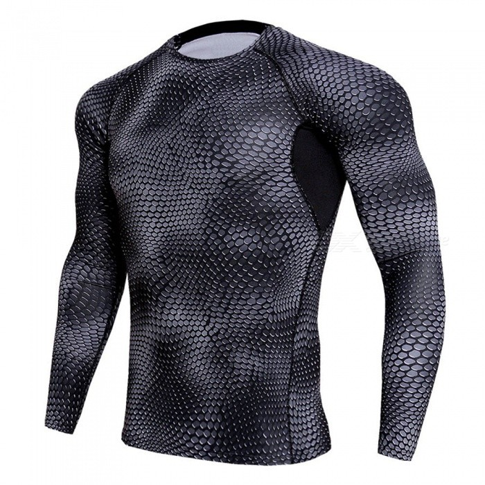 Stylish 3D Printing Quick Dry Long Sleeves T-Shirt for Men - Black Grey (XXL)