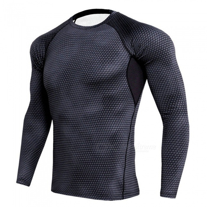Stylish 3D Printing Quick Dry Long Sleeves T-Shirt for Men - Black (XXL)
