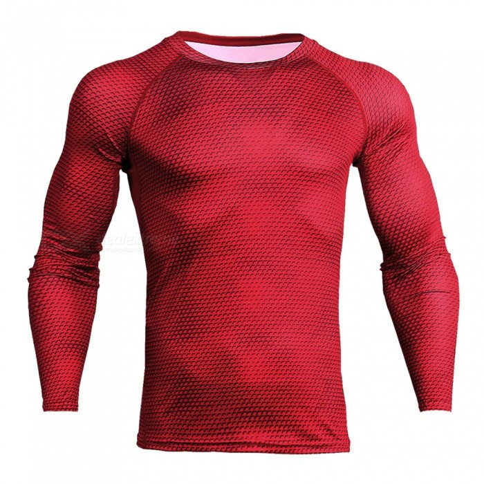 Stylish 3D Printing Quick Dry Long Sleeves T-Shirt for Men - Red (XXXL)