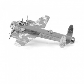 X-Man-Design DIY 3D Metal Model Kits Lase Cut Puzzles Lancaster Bomber Model Assembled Educational Toy - Silver