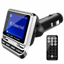 ESAMACT FM12B Car MP3 Player, Wireless FM Transmitter, LCD Screen Car Kit with USB Charger, Support TF Card & Line-in AUX
