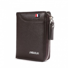 JIN BAO LAI Men's Stylish Folding Leather Card Holder Wallet - Coffee