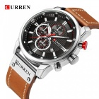 CURREN 8291 Fashion Men's Quartz Analog PU Band Wrist Watch - Silver + Black + Brown