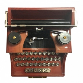 Antique Wooden Typewriter Shape Music Box for Home Office Decoration