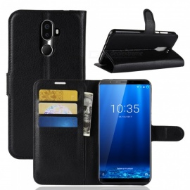 PU Leather Full Cover Wallet Phone Case for Cubot X18 Plus - Black