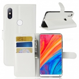 Durable Back Buckle Flip PU Leather Wallet Case for Xiaomi Mi Mix 2S - White