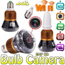 ESAMACT Mini 1080P Full HD Wi-Fi Network Wireless Security CCTV Camera, Wide Angle Bulb DVR, Support iOS/Android Remote Viewing