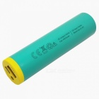 2600mAh Cylindrical Shaped Power Bank with LED Power Indicator, LED for Table, IPHONE X / 8, Samsung - Green + Yellow