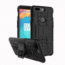 TPU + PC Case w/ Holder Stand for OnePlus 5T - Black