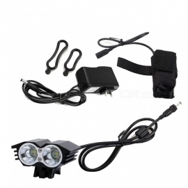 ZHAOYAO T6 LED M2 Double Head Owl Shape Super Bright Rechargeable MTB Bicycle Headlight (US Plug)