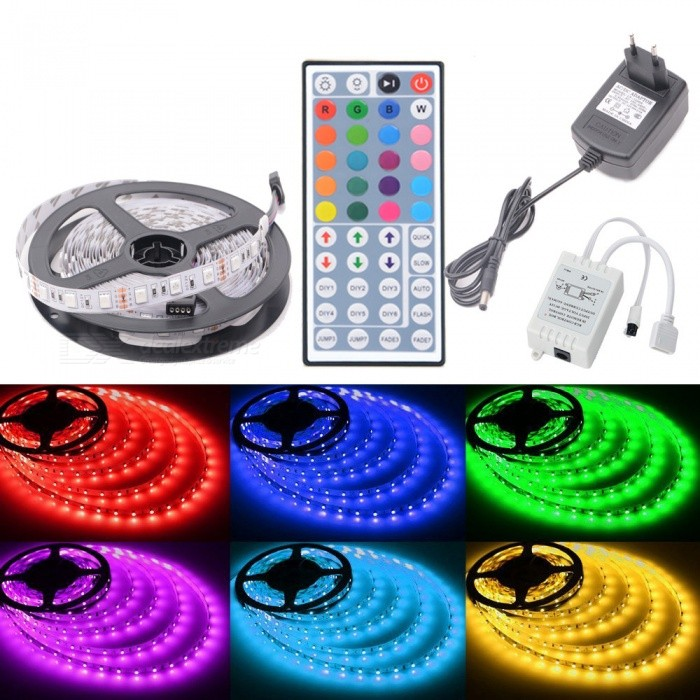 HML 72W 300-5050 RGB LED Strip Light with 44-key IR Remote Controller + EU Plug Power Adapter