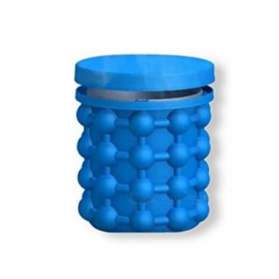 Silicone Ice Storage Bucket Space Saving Reusable Ice Cube Maker Kitchen Tool Genie Cubes Machine - Blue