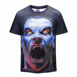 3D Kuso Zombie Pattern Fashion Short-Sleeved T-Shirt for Men (S)