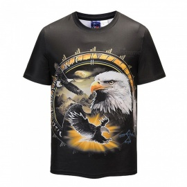 3D Eagles Pattern Fashion Polyester Fiber Short-Sleeved T-Shirt for Men - Black (S)