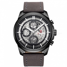 NAVIFORCE 9129 Men's Sports PU Leather Wrist Quartz Watch - Black + Brown (With Gift Box)