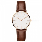 Hannah Martin 3690-CB36 Women's Ultra-thin Quartz Analog Waterproof Student Wrist Watch w/ PU Leather Strap - Brown + Golden
