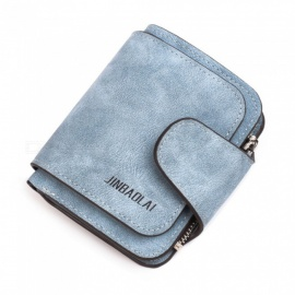 JIN BAO LAI Cute Little Student Lady's Leather Wallet w/ Zipper Buckle - Blue