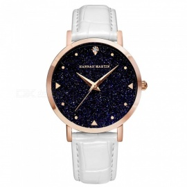 Hannah Martin XYZJW Women's Quartz Wrist Watch Diamond Shaped Starry Sky Mirror Dial, PU Leather Strap - White