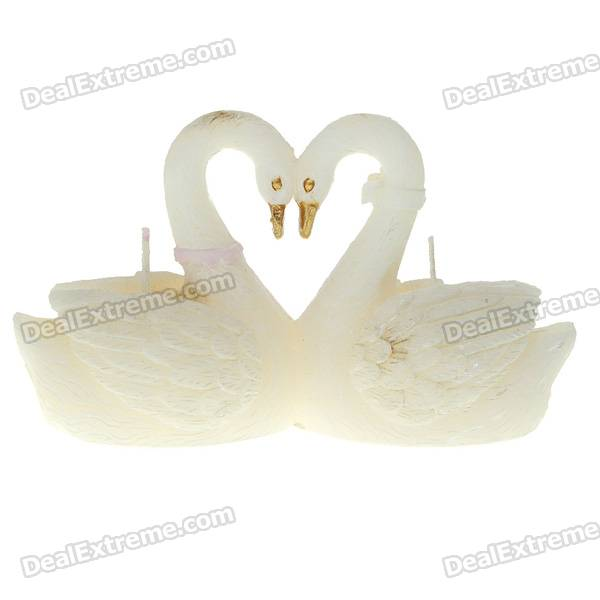 Charming Romantic Dual-Swans Style Candle - White