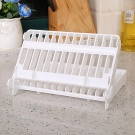 Creative Fashion Kitchen Folding Multi-function Bowl Tray Tableware Rack - White