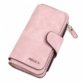 JIN BAO LAI Long Three Folding Frosted Fabric Leather Wallet with Card Holder for Women - Pink