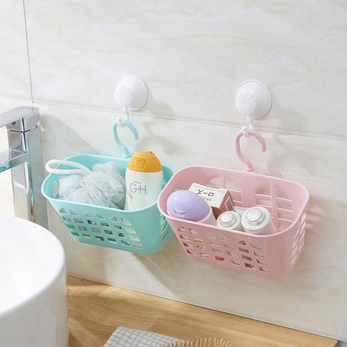 Plastic rotary household kitchen bathroom storage hanging basket blue free shipping for Hanging baskets for bathroom storage