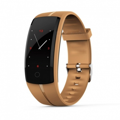 QS100 Smart Bracelet Touch Color Screen Sports Wrist Watch Heart Rate Blood Pressure Monitoring - Coffee