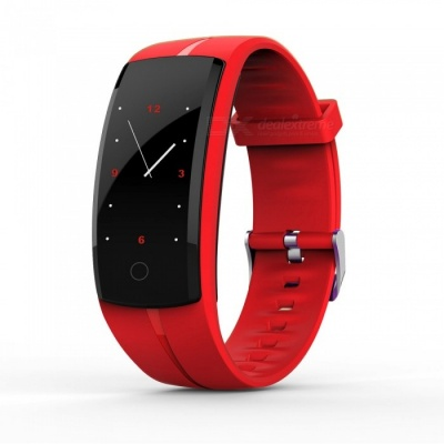 QS100 Smart Bracelet Touch Color Screen Sports Wrist Watch Heart Rate Blood Pressure Monitoring - Red