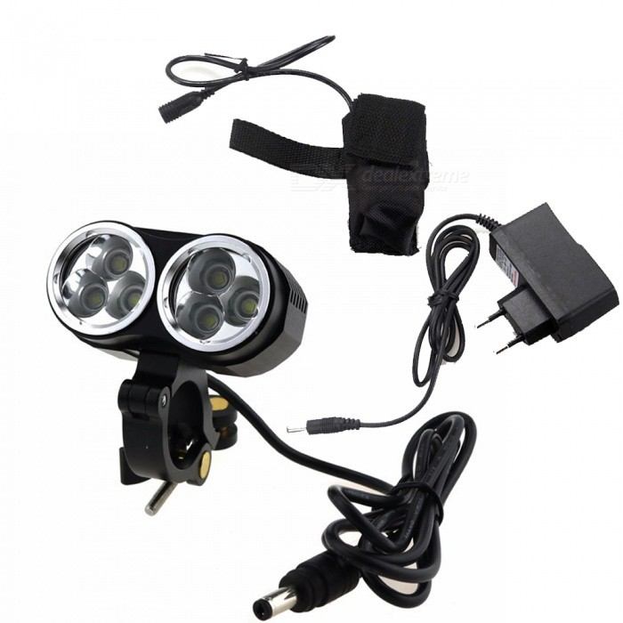 ZHAOYAO 6T CREE XM-L T6 6-LED Bike Frame Light with Aluminum Metal Clip Mount Holder - Black