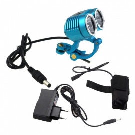 ZHAOYAO 6T CREE XM-L T6 6-LED Bike Frame Light with Aluminum Metal Clip Mount Holder - Blue