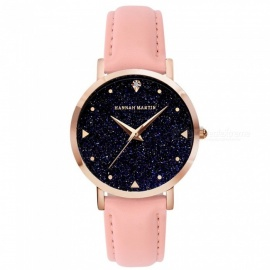 Hannah Martin XK36 Women's Quartz Wrist Watch Diamond Shaped Starry Sky Mirror Dial, PU Leather Strap - Pink