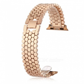 correa de reloj de acero inoxidable con diseño de escala para apple iwatch 42mm - oro rosa