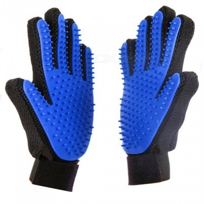 Silicone Pet Float Hair Removing Massage Gloves - Blue + Black (Pair)