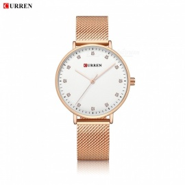 CURREN 9023 Women's Stylish Quartz Watch Water Resistant Wrist Watch - Rose Gold + White