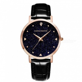 Hannah Martin XYZJW Women's Quartz Wrist Watch w/ Diamond Shaped Starry Sky Mirror Dial, PU Leather Strap - Black