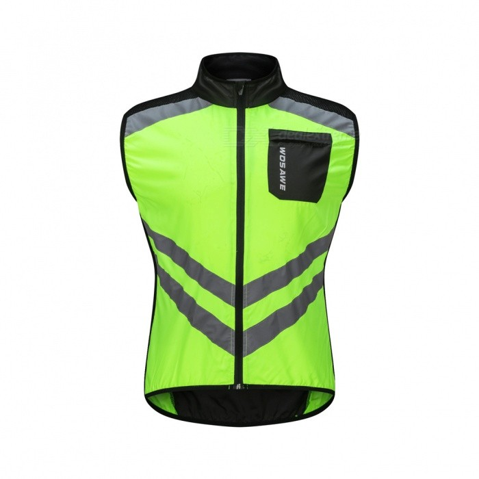 WOSAWE BL208 Outdoor Cycling Bike Polyester Sleeveless Vest with Reflective Strips - Green (XXL)