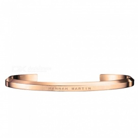 Hannah Martin Titanium Steel IP Vacuum Plating Bracelet, Unisex Stainless U-Bottom Open Bracelet - Rose Gold