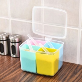 Creative Home Kitchen Practical Plastic Small 4-Compartment Salt Seasoning Storage Case Box Utensils