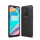 Dayspirit Wire Drawing Carbon Fiber TPU Back Case for OnePlus 6 - Black