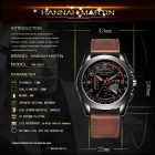 Hannah Martin BN02 Men's Sports Quartz Watch w/ Japanese Movement, 1 Decorative Dial, PU Leather Strap, 30M Waterproof - Brown