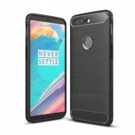 Dayspirit Wire Drawing Carbon Fiber TPU Back Case for OnePlus 5T - Black