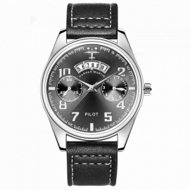 Hannah Martin KY19 Men's Flight Crew Quartz Watch Watch w/ PU Leather Strap, 2 Decorative Dials, 30m Waterproof - Blackk