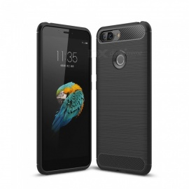 Dayspirit Wire Drawing Carbon Fiber TPU Back Case for Lenovo S5 - Black